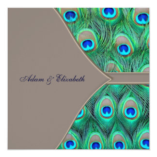Brown and Blue Peacock Wedding 5.25x5.25 Square Paper Invitation Card