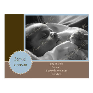 Brown and Blue Photo Announcement (Customizable) Postcards