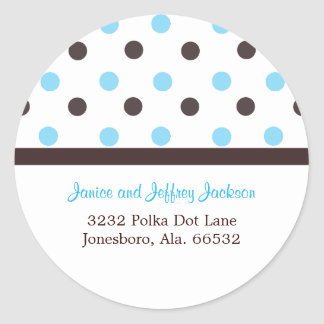 Brown and Blue: Polka Dot Address Sticker