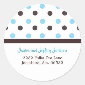 Brown and Blue: Polka Dot Address Sticker
