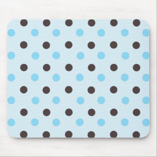 Brown and Blue Polka Dot Mouse Pad