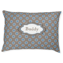 Brown and Blue Polka Dots Personalized Pet Bed