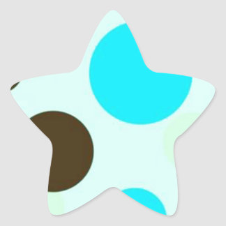 Brown and Blue Polkadots Star Sticker