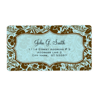 Brown And Blue Retro Flowers And Leafs Pattern Personalized Shipping Labels