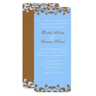 Brown and Blue Swirls Wedding Invitation