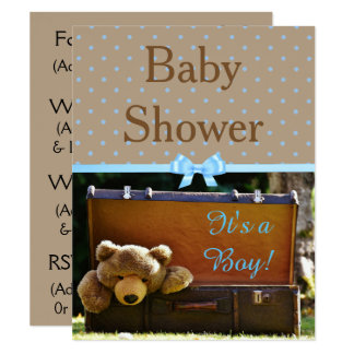 Brown and Blue Teddy Bear Baby Shower Invitation