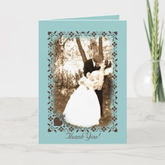 Brown and Blue thank you Card card