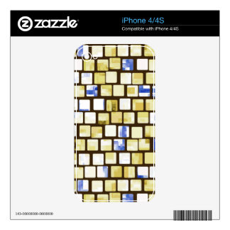 Brown and Blue Tiled Block Mosaic Pattern Skin For iPhone 4
