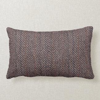Brown and Blue Tweed Image Throw Pillow Lumbar