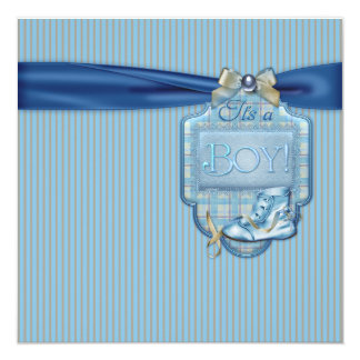 Brown and Blue Vintage Baby Boy Shower Card