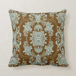 Brown And Blue Vintage Baroque Floral Pattern 2 Throw Pillows