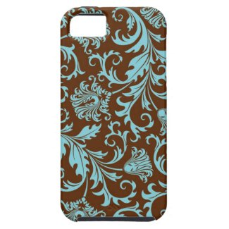 Brown And Blue Vintage Floral Damasks Pattern Iphone 5 Cover