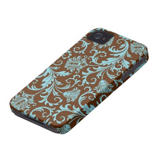Brown And Blue Vintage Floral Damasks Pattern iPhone 4 Case
