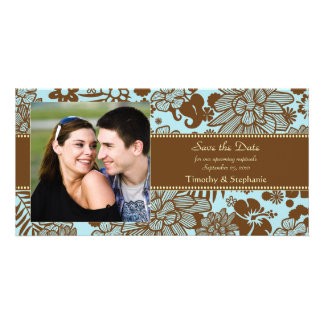 Brown and blue wedding save the date photocard card