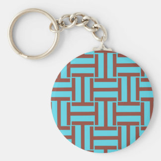 Brown and Bright Blue T Weave Basic Round Button Keychain