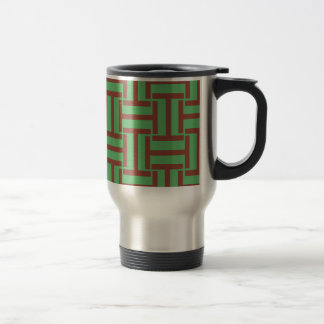 Brown and Bright Green T Weave Travel Mug