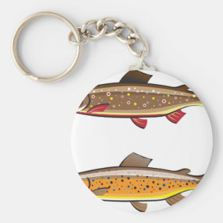 Brown and brook trout basic round button keychain