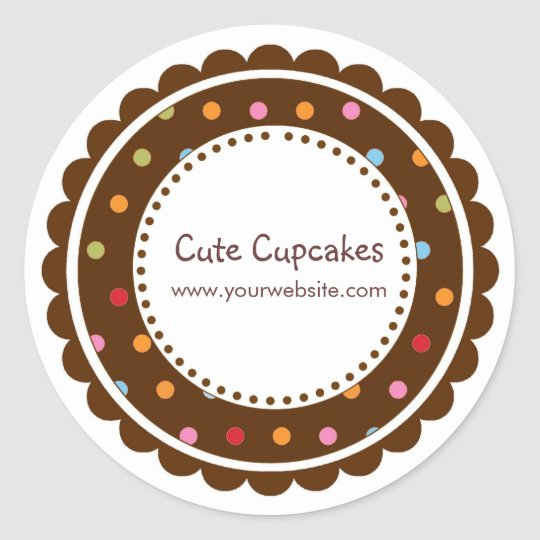 Brown and Colorful Polka Dots Classic Round Sticker