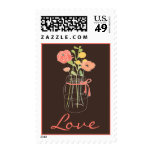Brown and Coral Mason Jar Love Stamps