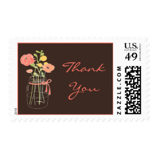 Brown and Coral Mason Jar Thank You Stamps