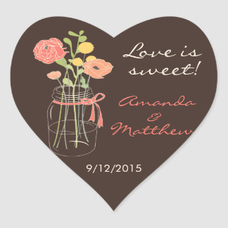 Brown and Coral Mason Jar Wedding Favor Stickers