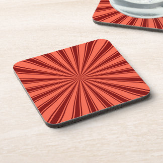 Brown and Coral Sun Rays Pattern Coaster