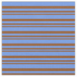 [ Thumbnail: Brown and Cornflower Blue Colored Pattern Fabric ]