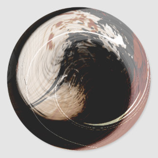 brown and cream abstract wave classic round sticker