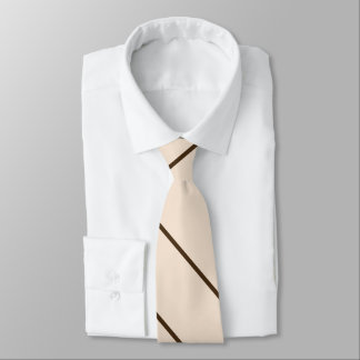 brown and cream classic diagonal striped tie