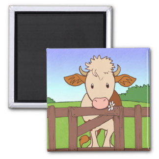 Brown and cream cow, magnet