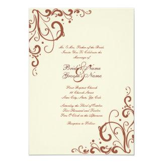 Brown and Cream Flourish Wedding Invitation