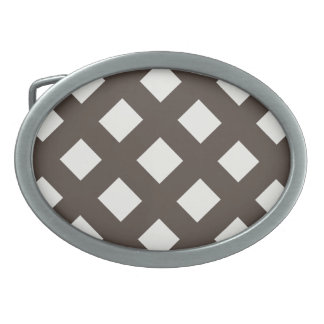 Brown and Cream Gingham Belt Buckles