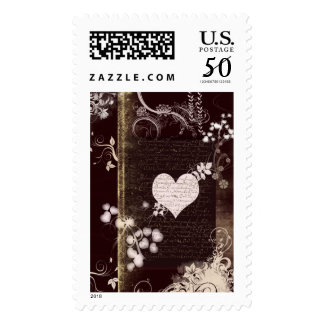 Brown and cream heart stamp