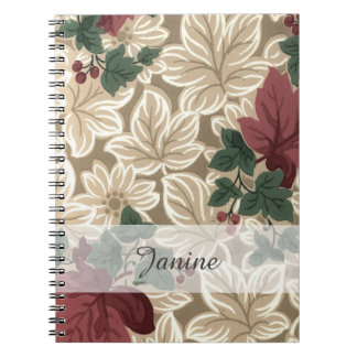 Brown and Cream Leaves and Deep Red Flowers Notebook