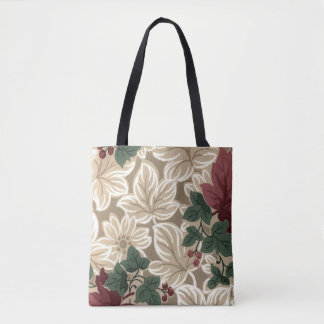 Brown and Cream Leaves and Deep Red Flowers Tote Bag