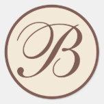 Brown and Cream Monogrammed Envelope Seals Round Stickers