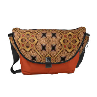 Brown And Cream Mosaic Pattern Courier Bag