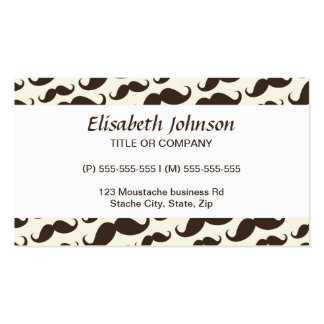Brown and cream trendy funny mustache pattern Double-Sided standard business cards (Pack of 100)