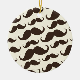 Brown and cream trendy funny mustache pattern ceramic ornament