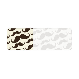 Brown and cream trendy funny mustache pattern label