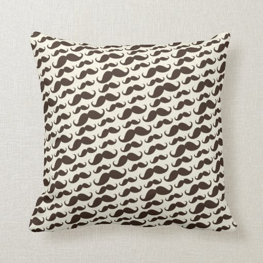 Brown and cream trendy funny mustache pattern throw pillow