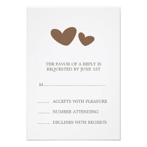 Brown and cream whimsical hearts wedding RSVP card Invite
