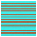 [ Thumbnail: Brown and Cyan Pattern of Stripes Fabric ]