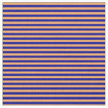 [ Thumbnail: Brown and Dark Blue Colored Lines Pattern Fabric ]