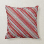 [ Thumbnail: Brown and Dark Gray Colored Stripes Pattern Pillow ]