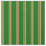 [ Thumbnail: Brown and Dark Green Colored Striped Pattern Fabric ]
