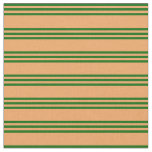 [ Thumbnail: Brown and Dark Green Lined Pattern Fabric ]