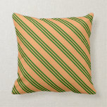 [ Thumbnail: Brown and Dark Green Lined Pattern Throw Pillow ]