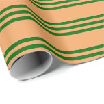 [ Thumbnail: Brown and Dark Green Lined Pattern Wrapping Paper ]