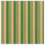 [ Thumbnail: Brown and Dark Green Lines/Stripes Pattern Fabric ]